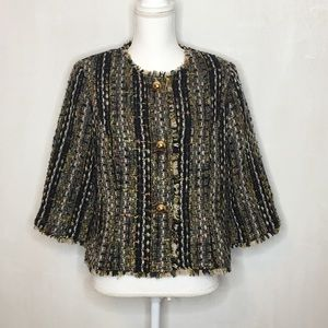 CAbi Collarless Tweed 3/4 Sleeve Jacket Size Med